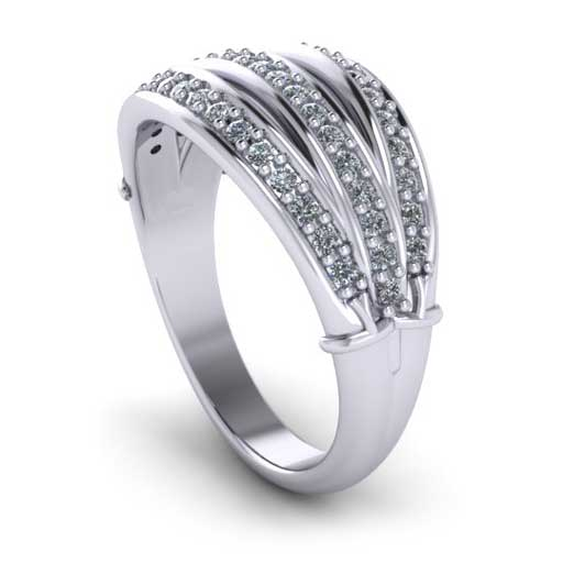 custom design ring - Multi Row Diamond Wedding Ring
