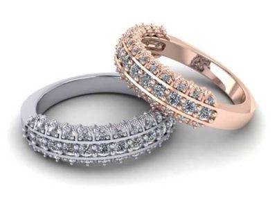 Multi Row Diamond Wedding Band