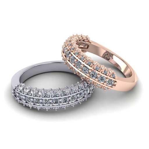 custom design ring - Multi Row Diamond Wedding Band